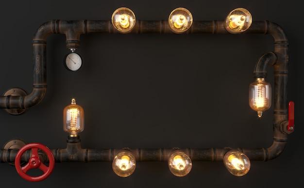 3dイラスト。パイプからの背景の暗い壁のロフトスチームパンクなランプ。 Premium写真