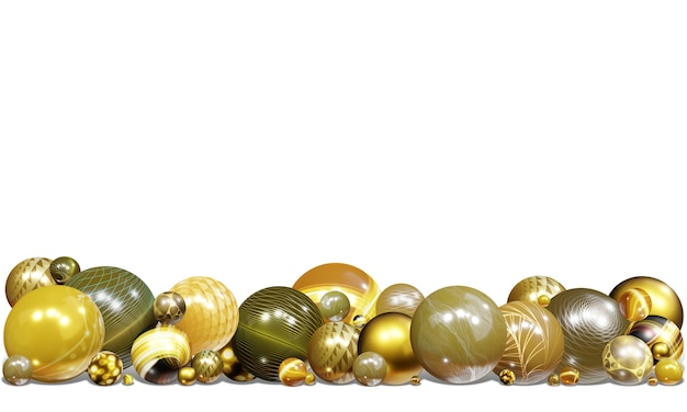 3d illustration background shiny spheres and abstraction patterns, elements of flying balls, decorated with patterns of gold and glitter 3d colors  for designs and banners Premium Photo