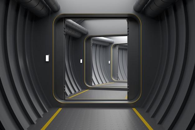3dイラスト。現代の装甲の背景は、原子炉または実験室のゲートまたはポータルを開きます。 Premium写真