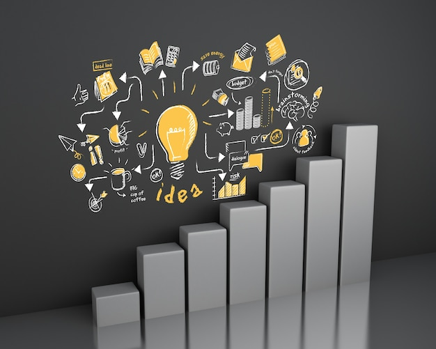 3d illustration. bar graph with business sketch at wall. business and strategy concept. Premium Photo