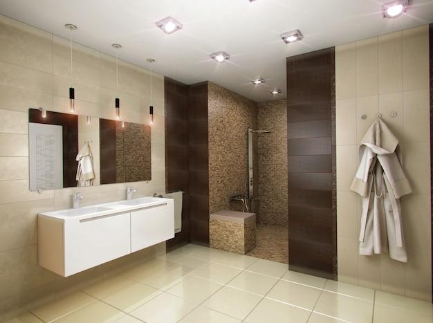 3d illustration of the bathroom in brown tones Premium Photo
