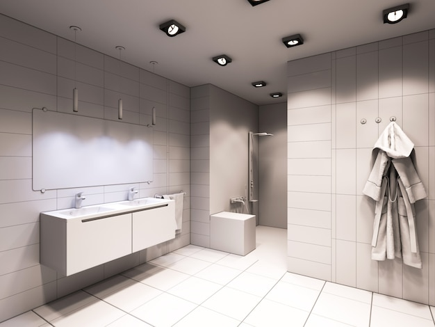 3d illustration of the bathroom without color and textures Premium Photo