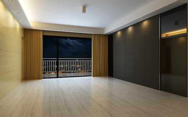 3d 그림 커튼과 마루 바닥으로 장식 된 아름 다운 밝고 따뜻한 방 프리미엄 사진