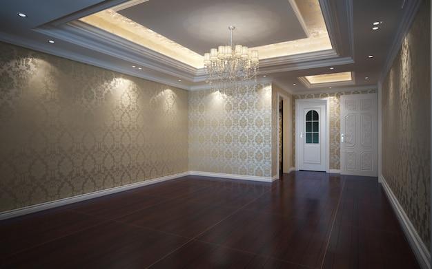 쪽모이 세공 마루 바닥으로 장식 된 3d 그림 아름 다운 밝고 따뜻한 방 프리미엄 사진