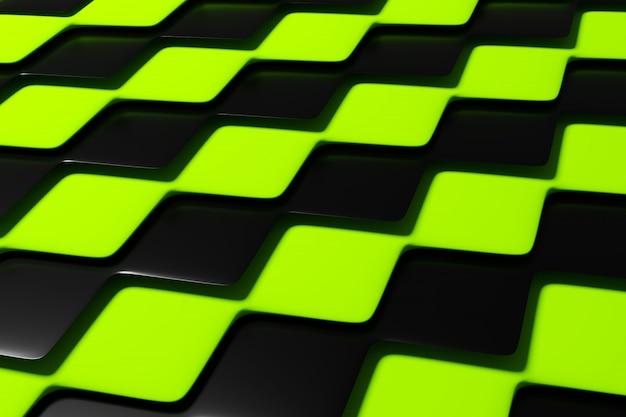 ピラミッドの3 dイラスト黒と緑の市松模様の幾何学模様。珍しいチェス盤。装飾的なプリント、パターン。 Premium写真
