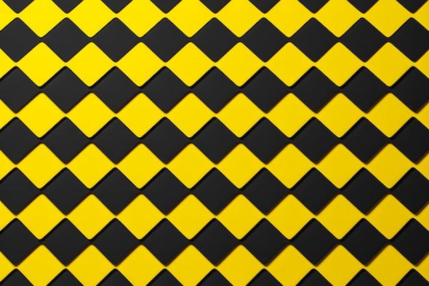 ピラミッドの3 dイラスト黒と黄色の市松模様の幾何学模様。珍しいチェス盤。装飾的なプリント、パターン。 Premium写真