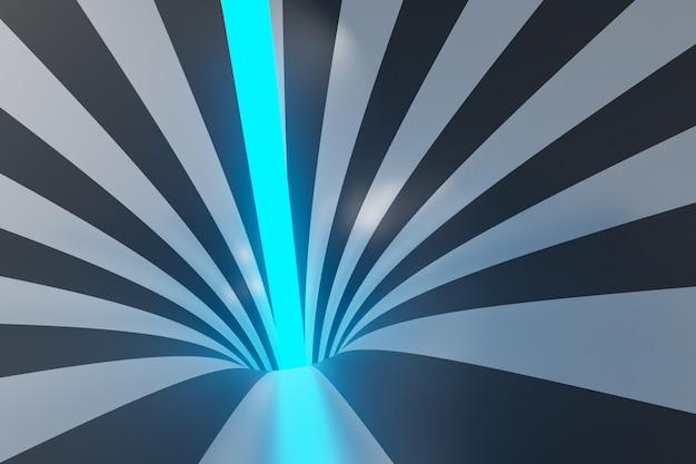 Воронка иллюстрации 3d черно-серая с неоновым лучом. полосатый цветной абстрактный фон. Premium Фотографии