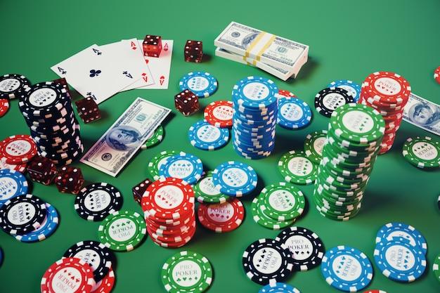 3d иллюстрации казино игры. фишки, игральные карты для покера. фишки для покера, красные кости и деньги на зеленом столе. концепция интернет-казино. Premium Фотографии