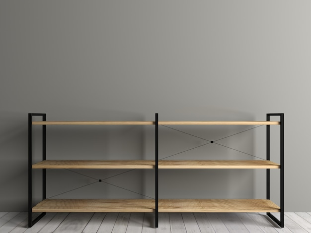 3dイラスト。ロフトのチェストラック。部屋のインテリア。家具と照明。バナーの背景 Premium写真