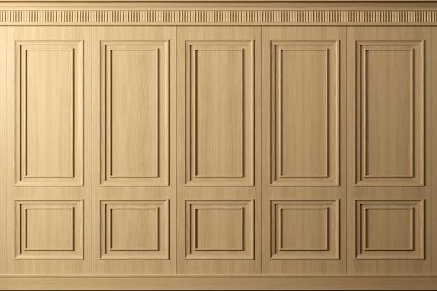 3dイラスト。ヴィンテージブナ材パネルの古典的な壁。インテリアの建具。バックグラウンド。 Premium写真