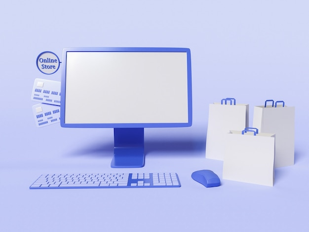 3d illustration of computer with paper bags and credit cards Free Photo