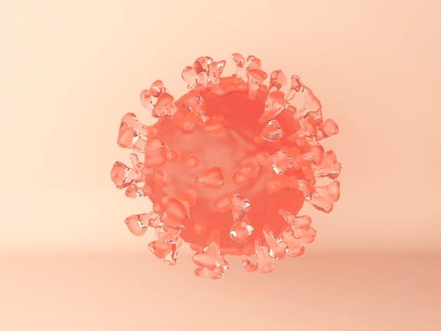 Illustrazione 3d. una cellula del virus del coronavirus sull'arancia. vista microscopica di un virus infettivo. Foto Gratuite