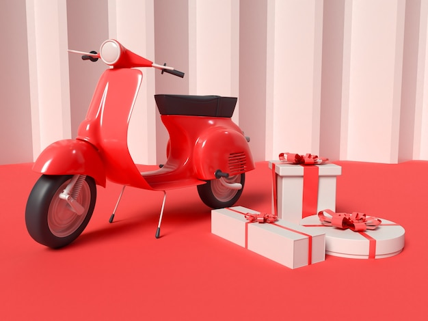 3d illustration of delivery scooter with gift boxes Free Photo