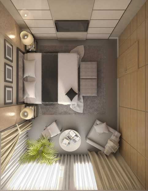 3d illustration of design of a bathroom in brown and beige color Premium Photo
