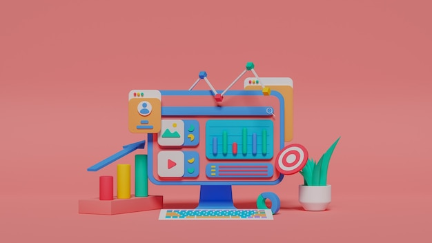 3d illustration of digital marketing analysis. premium photo