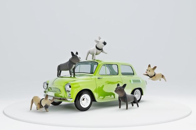 3d иллюстрации собака собирается путешествовать на машине Premium Фотографии
