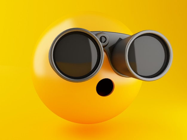 3d illustration. emoji icons with binoculars on yellow background. social media concept. Premium Photo