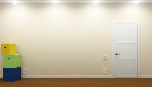 3d 일러스트 레이 션. 문과 상자 빈 방입니다. 재배치 과정. 부동산 프리미엄 사진
