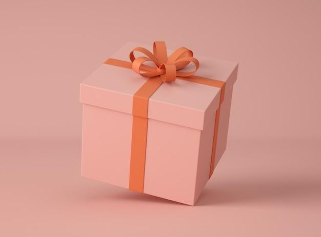 3d illustration. gift box with bow-ribbon. Premium Photo