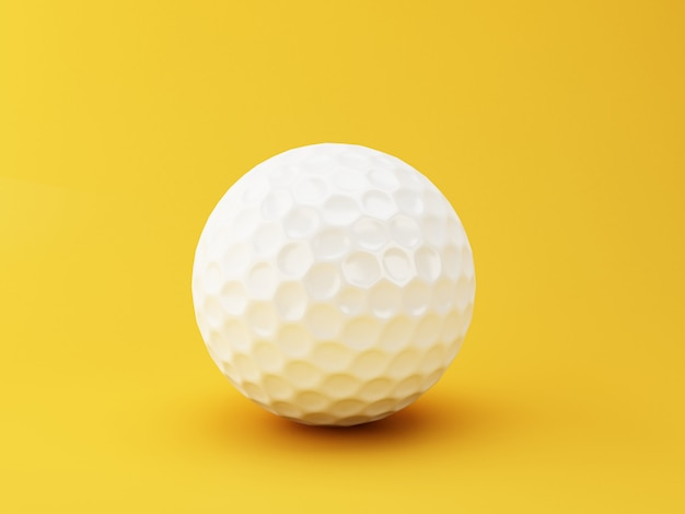 3d illustration. golf ball on yellow background. sports concept. Premium Photo