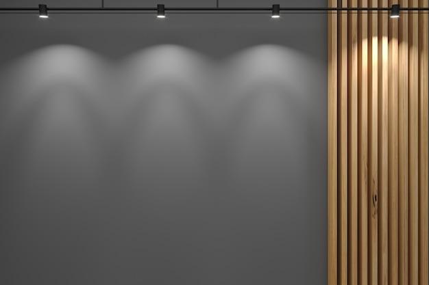 3dイラスト。レセプションの灰色の壁とボードからの装飾。 Premium写真