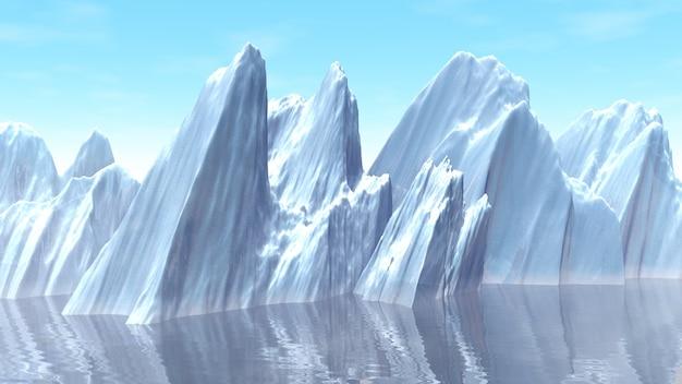 3d illustration of iceberg in the ocean Premium Photo
