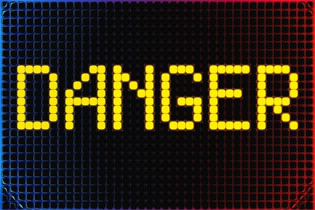 3d иллюстрации надпись опасность от маленьких желтых кубиков на неоновом фоне. иллюстрация опасности, осторожность Premium Фотографии