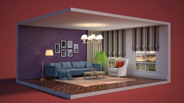 3d illustration interior of the living room in a box Premium Photo