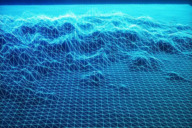3d illustration landscape background. cyberspace landscape grid. 3d technology. abstract blue landscape on black background with light rays. Premium Photo