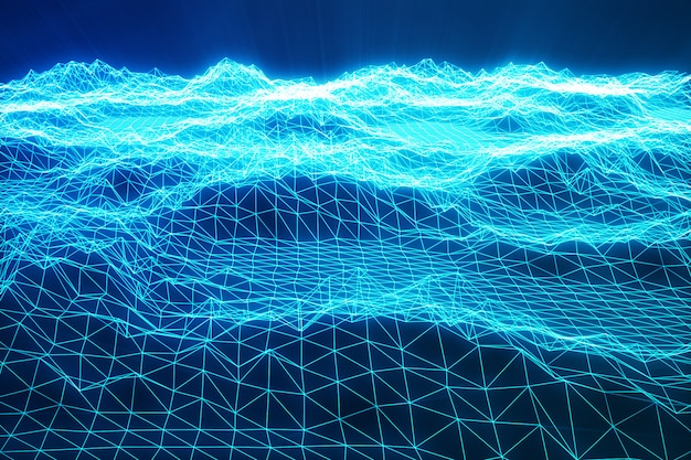 3d illustration landscape background. cyberspace landscape grid. 3d technology. abstract blue landscape on black background with light rays. Premium Photo