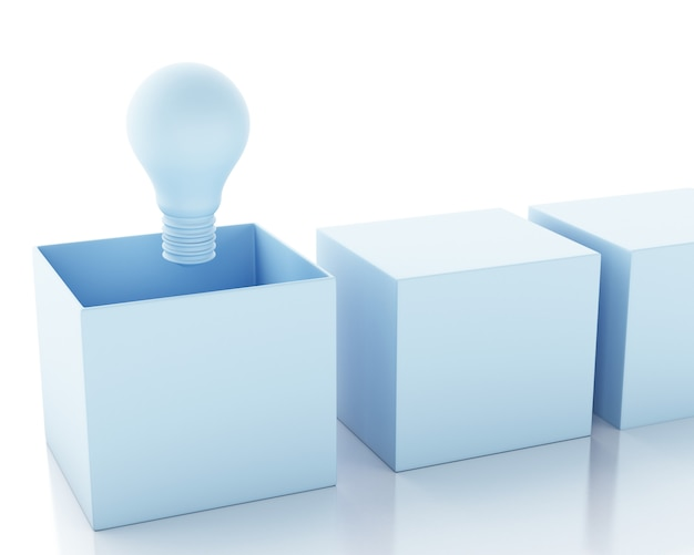 3d illustration. light bulb. idea and think outside of the box concept. Premium Photo