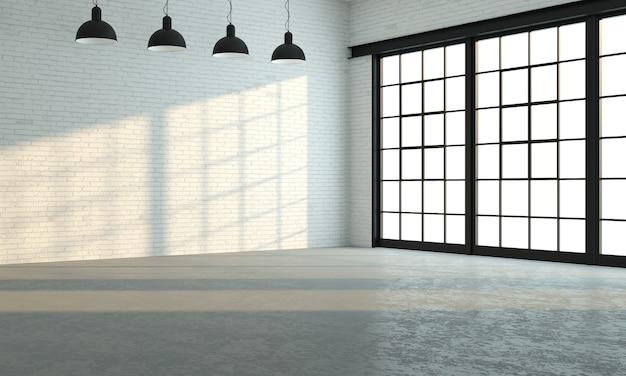 3d 그림. 큰 검은 색 창문이있는 로프트 룸 또는 스튜디오입니다. 현대적인 인테리어. 프리미엄 사진