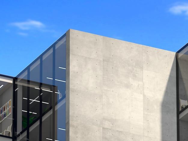 3dイラスト。ロゴモックアップ3dサインビルのオフィスやショップ。コンクリートの壁 Premium写真