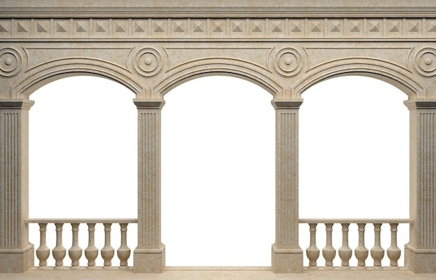 3dイラスト。大理石のアンティークの壁のアーケード。背景バナー。ポスター。古代世界の建築。 Premium写真