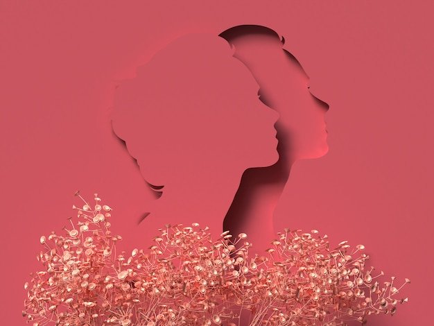 3d illustration. march 8 with red papercut woman face. women's day concept. Premium Photo