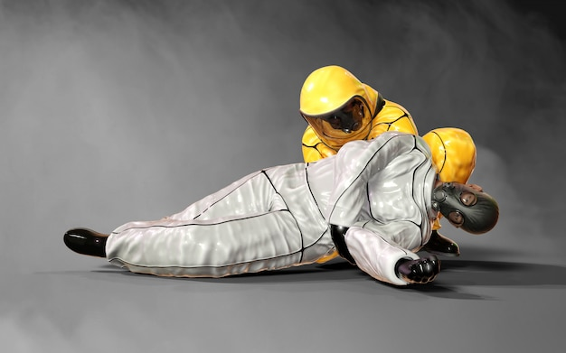 3d illustration men, in virus protective biohazard yellow and white suits helping each other in the corona virus or covid-19 outbreak situation, isolated on dark background, with clipping path Premium Photo