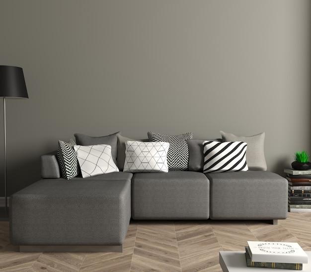 3d 그림. 흰색 소파가있는 현대 거실. 벽에 흰색 빈 그림입니다. 포스터를 모의하십시오. 프리미엄 사진