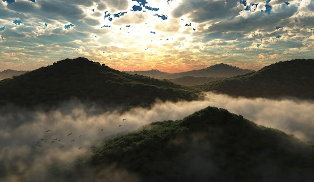 3d illustration of mountains and forest Premium Photo