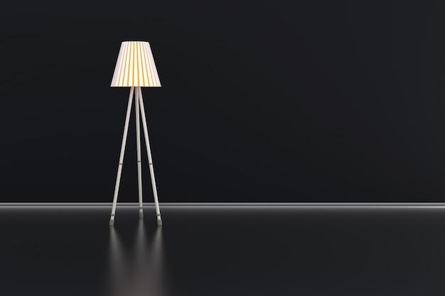 어두운 방에서 램프의 3d 일러스트 레이 션. 프리미엄 사진