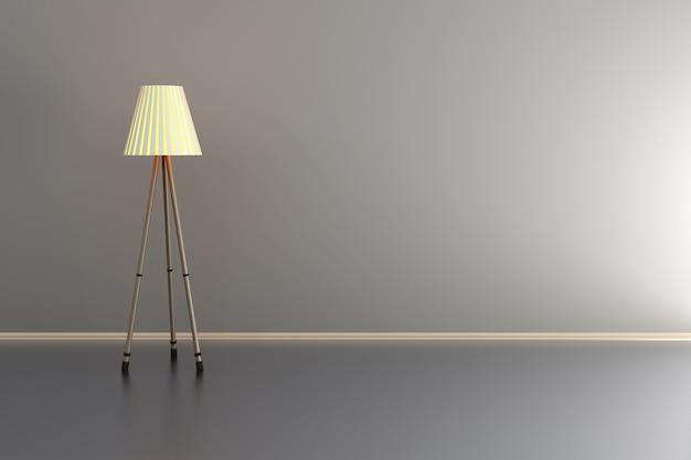 회색 방에 램프의 3d 일러스트 레이 션. 프리미엄 사진