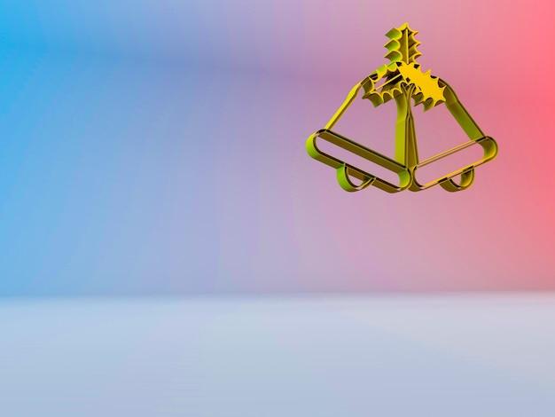 グラデーションの背景にクリスマスの鐘の3dイラスト 無料写真