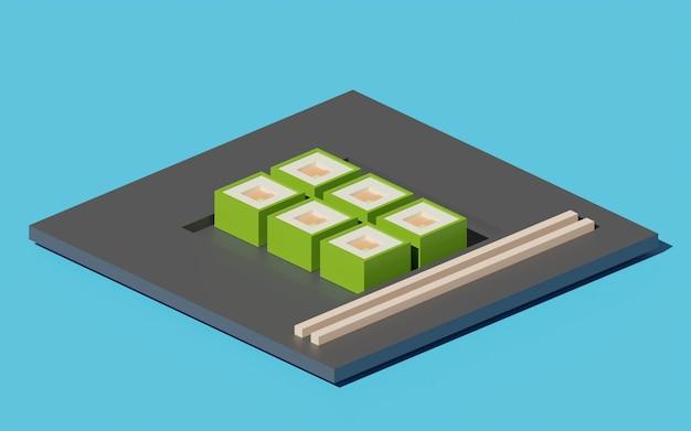 Cubesushi日本食の3dイラスト Premium写真