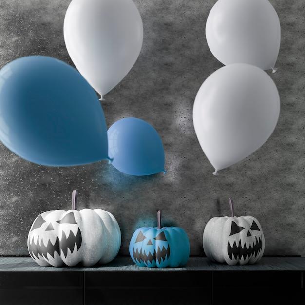 リビングルームのハロウィーンの装飾の3dイラスト。カボチャと風船。 3dレンダリング Premium写真
