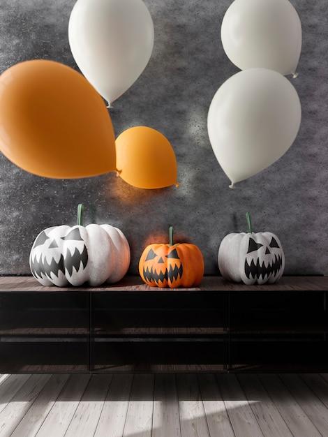 ハロウィーンの装飾と風船とリビングルームの3dイラスト Premium写真