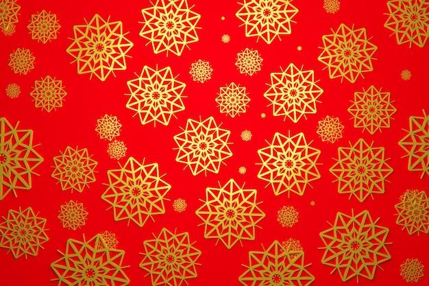 3d иллюстрации многих золотых снежинок разных размеров и форм на красном фоне. зимний образец снежинки Premium Фотографии