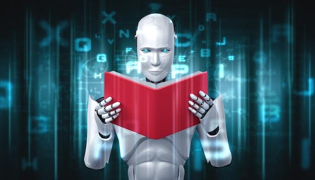 3d иллюстрации робот-гуманоид, читающий книгу Premium Фотографии