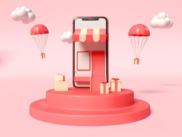 화면에 상점이 있고 측면에 선물 상자가있는 스마트 폰의 3d 일러스트 무료 사진