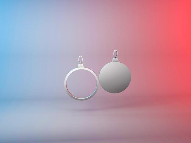 그라데이션 배경에 크리스마스 트리 공 아이콘의 3d 그림 무료 사진