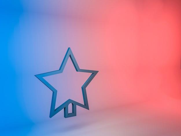 Трехмерная иллюстрация значка звезды елки на градиентном фоне Бесплатные Фотографии