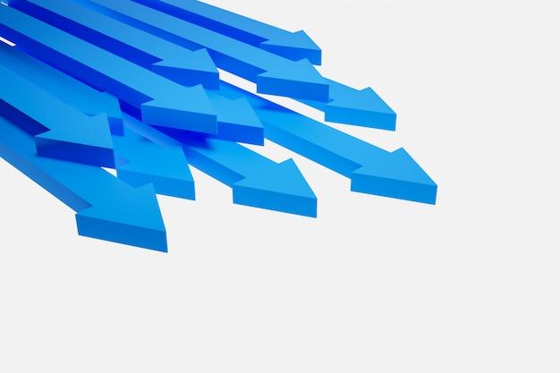 別の青い矢印アイコンの3 dイラストレーション。前進の動きを示す矢印。 Premium写真